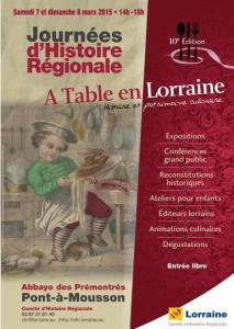 Journées d'Histoire Régionale A Table en Lorraine