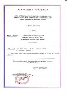 LEMAIRE Jules Marie Ernest Croix de Guerre